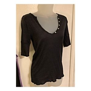 Michael Stars•shimmery Henley style top